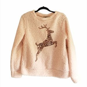 Fuzzy Light Pink Sweater with Sequin Reindeer